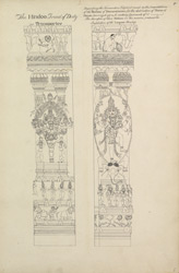 Columns in the Pudu Mandapam, Madurai carved with a trimurti image and an image of Shiva dancing on an elephant's skin